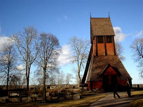 PHOTO of Sweden, Old Uppsala, old red wooden church and