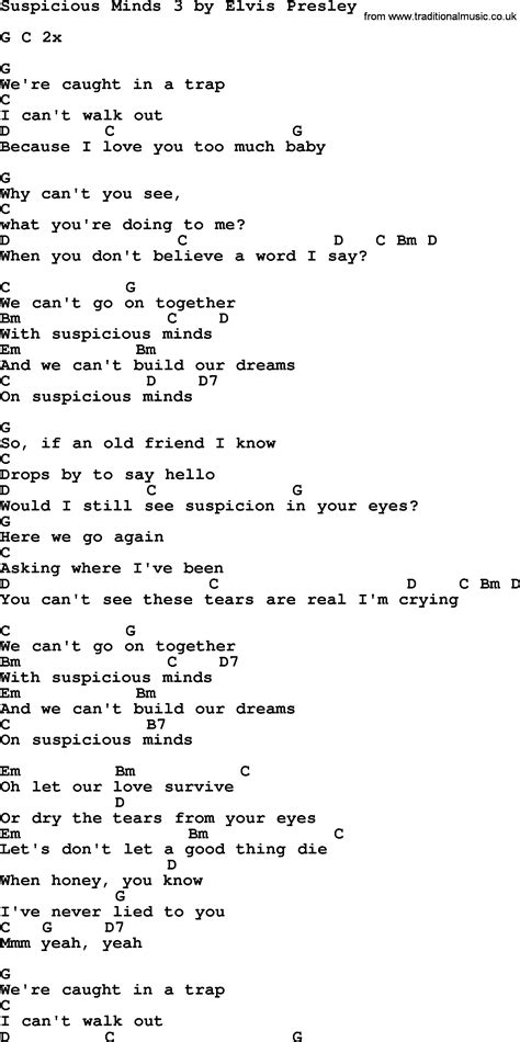 Suspicious Minds 3, by Elvis Presley - lyrics and chords