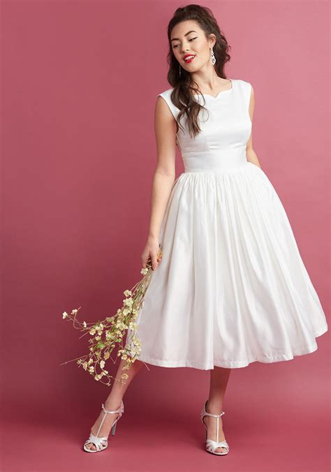 Fabulous Fit and Flare Dress with Pockets in White | ModCloth
