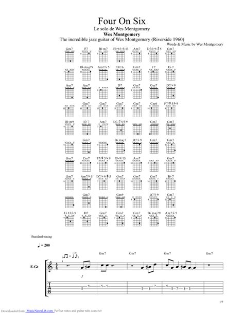 Four On Six guitar pro tab by Wes Montgomery