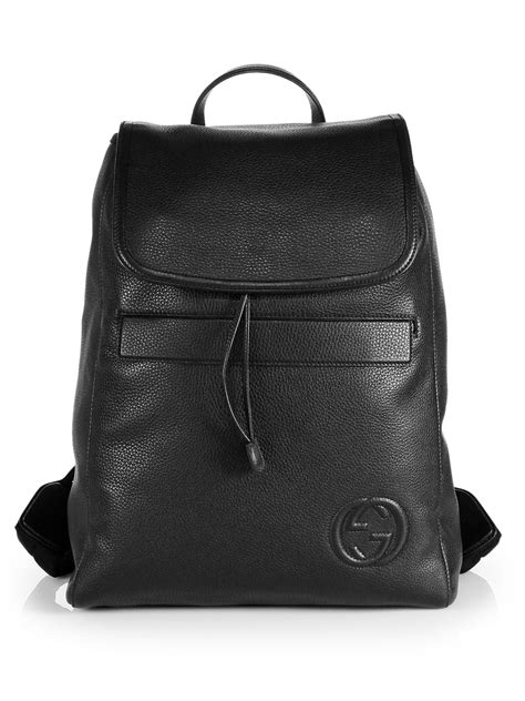 Gucci Leather Backpack in Black for Men - Lyst