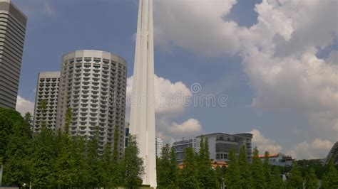 City Park In Summer With War Monument View Stock Footage