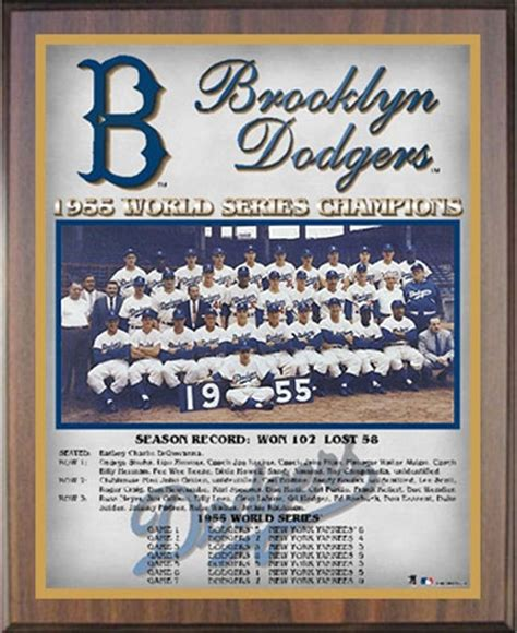 1955 Brooklyn Dodgers World Champions Healy Plaque