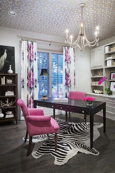 Pink and Grey Office Design - Contemporary - Den/library