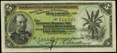 Danish West Indies 5 Francs in Gold note 1905|World