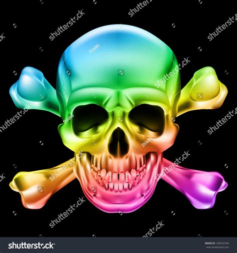 Rainbow Skull And Crossbones