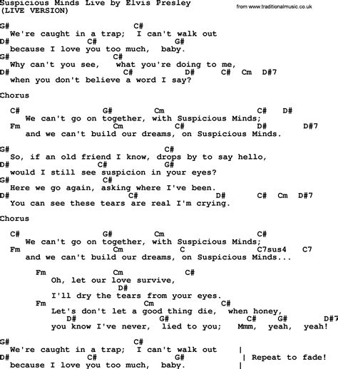 Suspicious Minds Live, by Elvis Presley - lyrics and chords