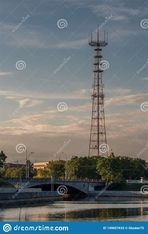 Evening View Of The Television Tower From Minsk Gorky Park