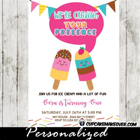 Popsicle Party Invitations, Colorful Summer Ice Cream