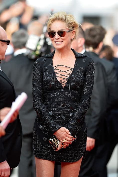 Sharon Stone in short black dress Cannes 2014|Lainey